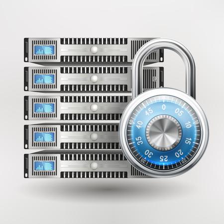 icône Réseau de sécurité - serveur fermé avec un cadenas, la sécurité de base de données. exigence de mot de passe ou accès refusé. EPS 10 contient la transparence.