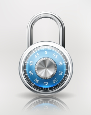 combinations: Security concept with locked combination padlock, safety icon.
