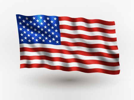 Illustration of waving USA flag, isolated flag icon, EPS 10 contains transparency. Çizim