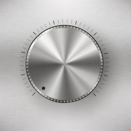 volume knob: Volume knob with range scale , blank button template with realistic metal texture Illustration