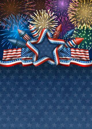 national: Patriótico fondo americano para el cuarto de julio, con las banderas americanas y la estrella con cohetes y fuegos artificiales