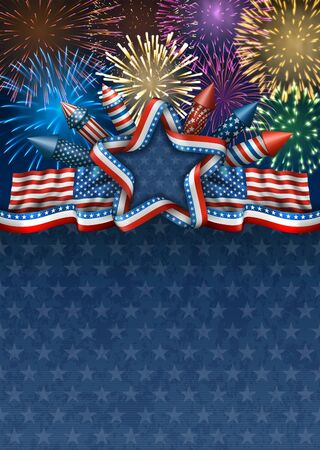 national: Patriotic american background for fourth of july, with american flags and star with rockets and fireworks Illustration