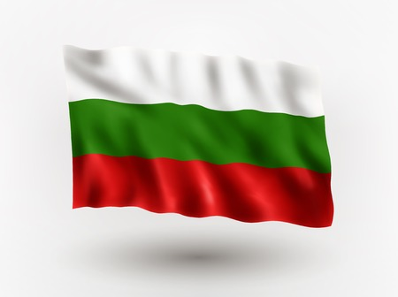symbolical: Illustration of waving flag of Bulgaria, isolated flag icon, EPS 10 contains transparency.