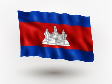 cambodian flag: Illustration of waving flag of Cambodia, isolated flag icon, EPS 10 contains transparency.