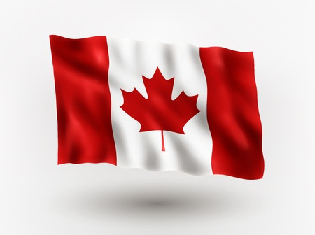 Illustration of waving flag of Canada, isolated flag icon, EPS 10 contains transparency. Ilustração
