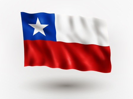 chilean: Illustration of waving flag of Chile, isolated flag icon, EPS 10 contains transparency.