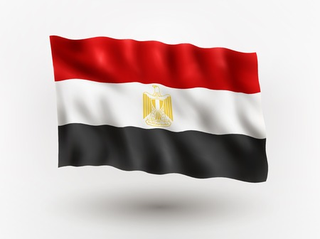symbolical: Illustration of waving flag of Egypt, isolated flag icon, EPS 10 contains transparency.