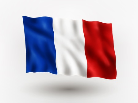 Illustration of waving flag of France, isolated flag icon, EPS 10 contains transparency. Illustration