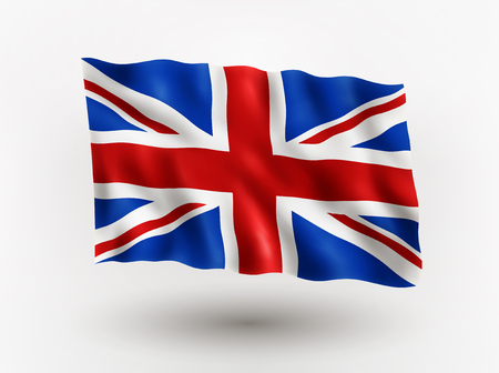 briton: Illustration of waving flag of Great Britain, isolated flag icon, EPS 10 contains transparency.