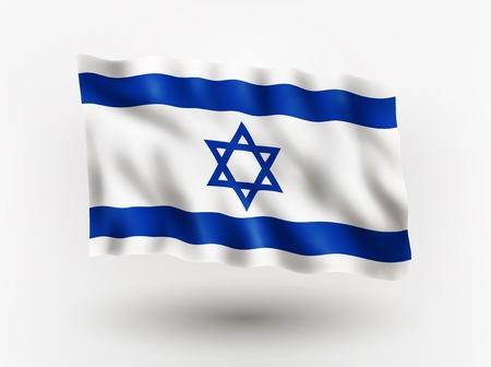 asiatic: Illustration of waving flag of Israel, isolated flag icon, EPS 10 contains transparency.