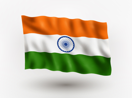 asiatic: Illustration of waving flag of India, isolated flag icon, EPS 10 contains transparency.