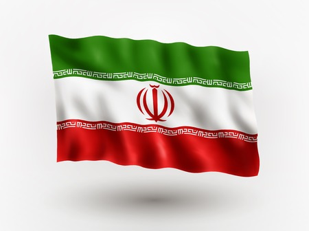 Illustration of waving flag of Iran, isolated flag icon, EPS 10 contains transparency.