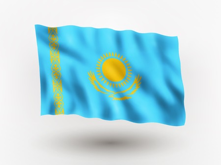 symbolical: Illustration of waving flag of Kazakhstan, isolated flag icon, EPS 10 contains transparency.