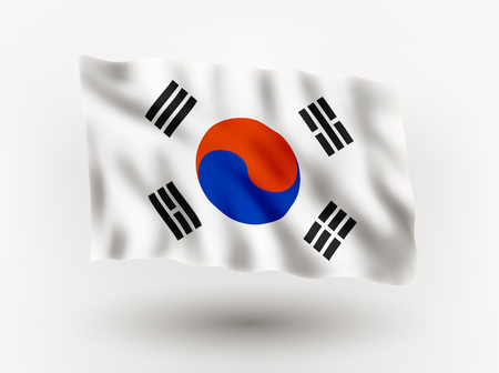 Illustration of waving flag of Korea, isolated flag icon, EPS 10 contains transparency. Illustration