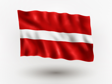 symbolical: Illustration of waving flag of Latvia, isolated flag icon, EPS 10 contains transparency.