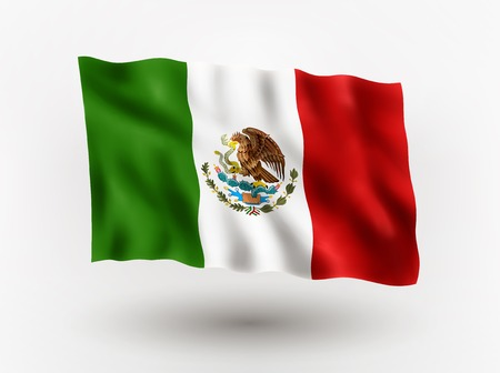 Illustration of waving flag of Mexico, isolated flag icon, EPS 10 contains transparency.
