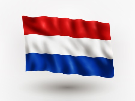 dutch flag: Illustration of waving flag of Netherlands, isolated flag icon, EPS 10 contains transparency. Illustration