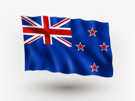 symbolical: Illustration of waving flag of New Zeland, isolated flag icon, EPS 10 contains transparency.