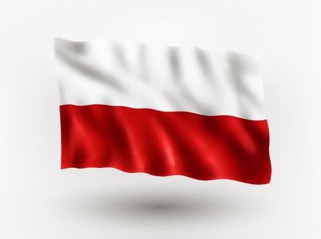 polish flag: Illustration of waving flag of Poland, isolated flag icon, EPS 10 contains transparency.