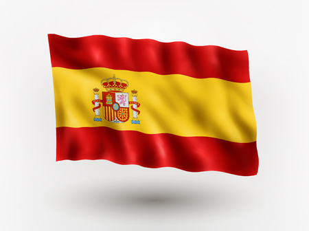 Illustration of waving flag of Spain, isolated flag icon, EPS 10 contains transparency.