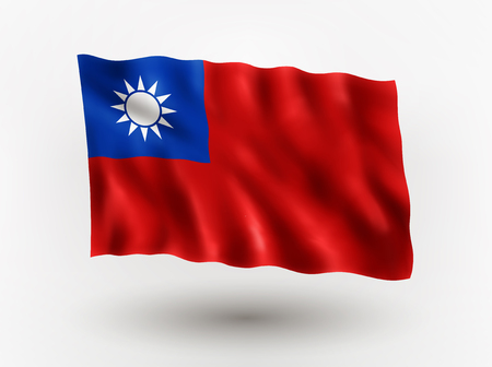 taiwanese: Illustration of waving flag of Taiwan, isolated flag icon, EPS 10 contains transparency. Illustration