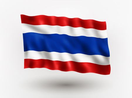 asiatic: Illustration of waving flag of Thailand, isolated flag icon, EPS 10 contains transparency. Illustration