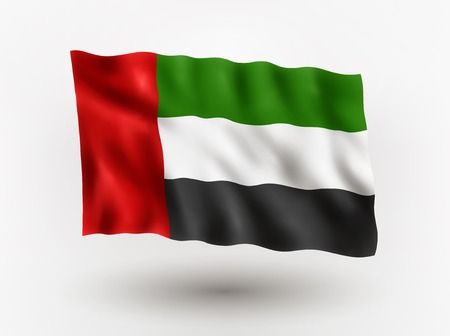 symbolical: Illustration of waving flag of United Arab Emirates, isolated flag icon, EPS 10 contains transparency. Illustration