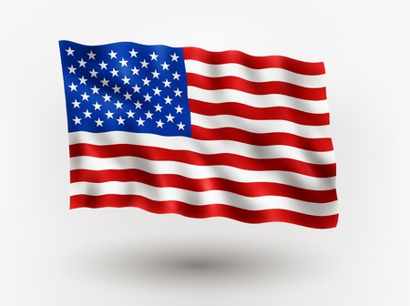 Illustration of waving flag of usa, isolated flag icon, EPS 10 contains transparency. Zdjęcie Seryjne - 63925800
