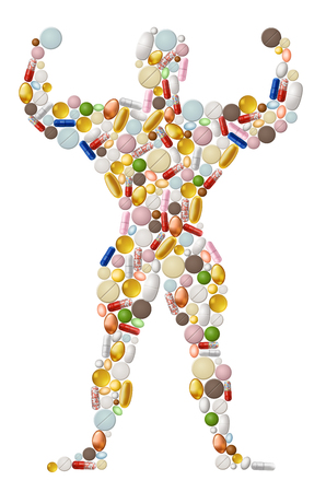 Illustration of abstract bodybuilder, made of pills, EPS 10 contains transparency.