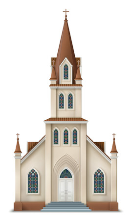 chapel: Illustration of christian church, realistic image of protestant church EPS 10 contains transparency. Illustration
