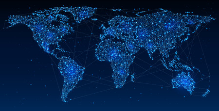Global Telecommunications, World Network on Map Abstract illustration of global social communication, polygonal map with hot points, network connection. Contains transparency