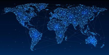 Global Telecommunications, rete mondiale sulla illustrazione mappa astratta della comunicazione sociale globale, mappa poligonale con punti caldi, la connessione di rete. contiene la trasparenza