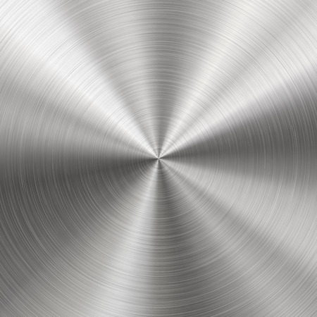 Technology background with polished, brushed metal, radial texture of alloy, titan, steel, chrome, nickel. EPS 10 contains transparency Illustration