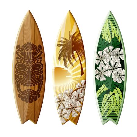Conjunto de tablas de surf con diseño original, con la impresión en color, EPS 10 contiene la transparencia.