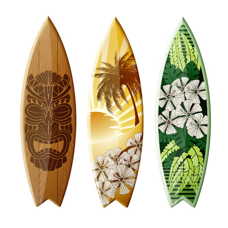 Set of surfboards with original design, with color print, EPS 10 contains transparency.