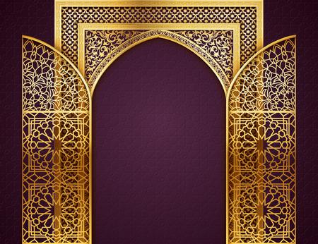 ゴールデン アーチ、ウィットとラマダンの背景は、アラビア語の黄金パターンで、扉を開いた、イスラム教徒のコミュニティのラマダン カリーム、  イラスト・ベクター素材
