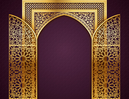 Ramadan background with golden arch, wit opened doors, with golden arabic pattern, background for holy month of muslim community Ramadan Kareem, EPS 10 contains transparency Vectores