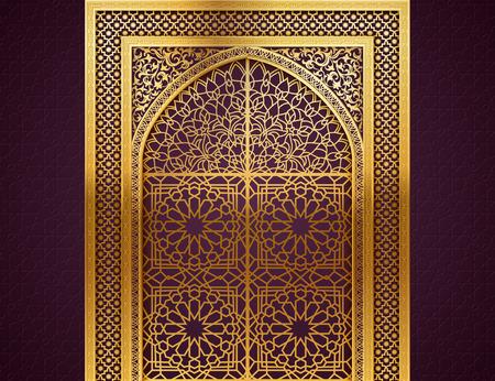 Fondo de Ramadán con arco dorado, puertas cerradas ingeniosas, con patrón árabe dorado, fondo para el mes sagrado de la comunidad musulmana Ramadan Kareem, EPS 10 contiene transparencia