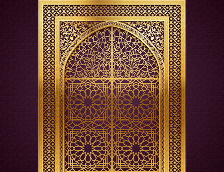 Ramadan background with golden arch, wit closed doors, with golden arabic pattern, background for holy month of muslim community Ramadan Kareem, EPS 10 contains transparency