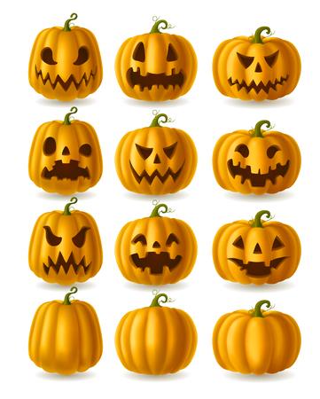 jack o  lanterns: Set of Jack o Lanterns, yellow pumpkins isolated on white, EPS 10 contains transparency. Illustration