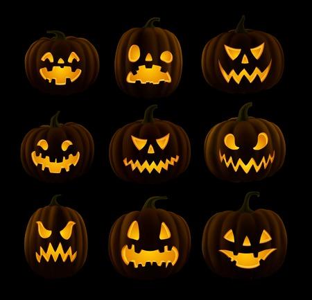 jack o  lanterns: Set of Jack O Lanterns, faces cut on pumpkin, detailed illustration, EPS.
