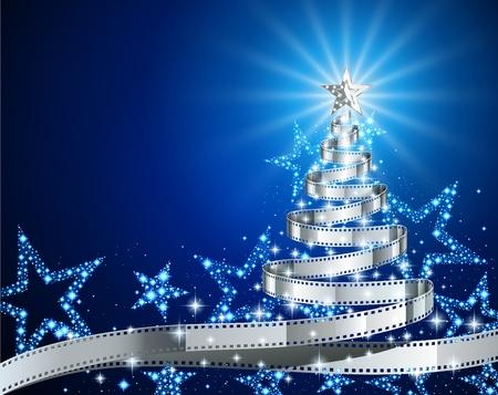 Árbol de pino hecha de cinta de película, Navidad y Año Nuevo fondo, ilustración para la temporada de vacaciones, postal sobre el tema de la película, EPS 10 contiene la transparencia. Ilustración de vector