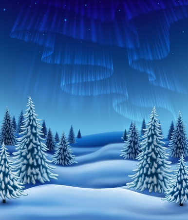 Winter landscape with polar lights, background for christmas and new year greeting, illustration with pine trees in snow, EPS 10 contains transparency. Иллюстрация
