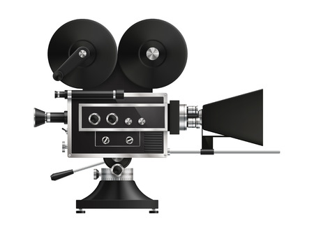 film projector: Very realistic, high detailed, vintage film projector, cinema icon. EPS 10 contains transparency Illustration