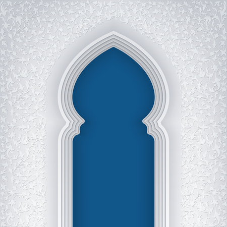 arabic background: Illustration of arabic arch, with floral pattern, background for ramadan kareem greeting cards, EPS 10 contains transparency. Illustration