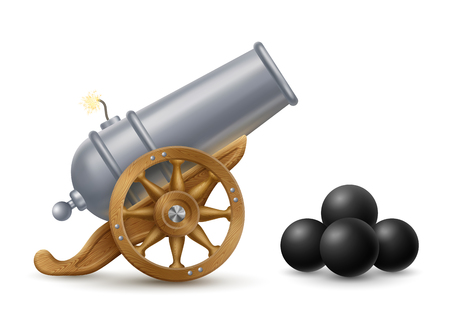 Cartoon illustration of cannon with cannonballs, weapon icon,  contains transparency.