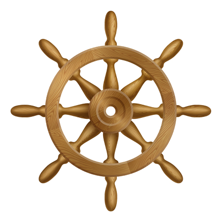 Icon of ship wheel with wooden texture, contains transparency. Illustration
