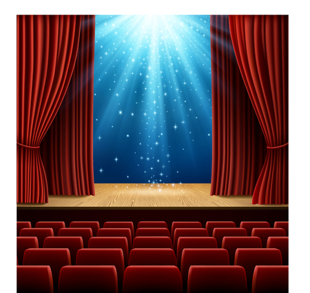 A theater stage with red curtain and red seats, with magic light and stars. EPS 10 contains transparency.