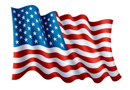 Illustration of waving USA flag, isolated flag icon, EPS 10 contains transparency. 向量圖像
