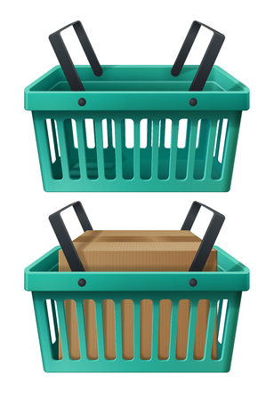 eps vector icon: Icon of shopping basket, illustration of empty cart and with goods, design element for online shop, realistic image pictogram. EPS 10 contains transparency, layered vector file. Illustration